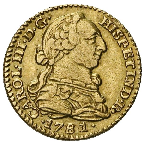 Madrid, Spain, gold bust 1 escudo, Charles III, 1781/0PJ.