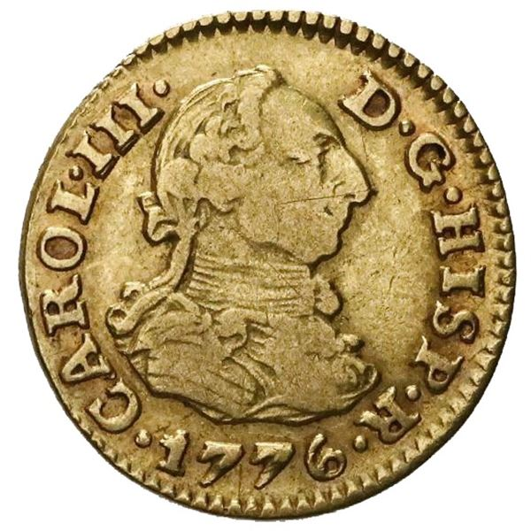 Seville, Spain, gold bust 1/2 escudo, Charles III, 1776CF.