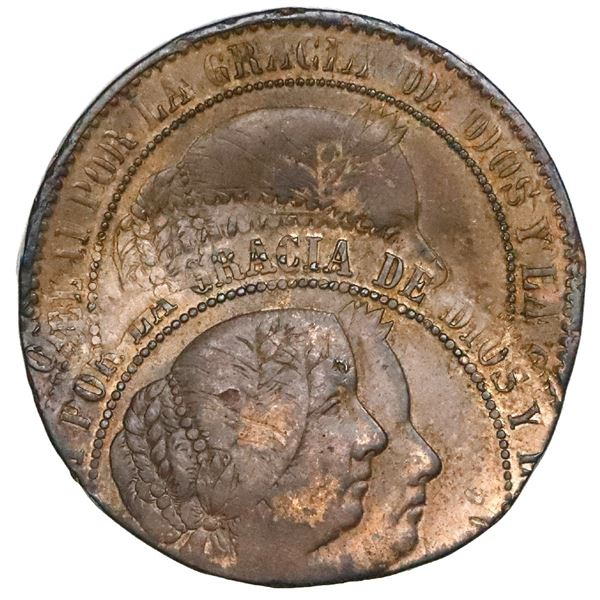 Barcelona, Spain, bronze 2-1/2 centimos de escudo, Isabel II, date not visible (1866-8), rotated sec