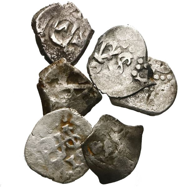 Lot of six Spanish colonial cob 1/2R: one Mexico, Charles II; three Lima, Philip V (two) and Louis I