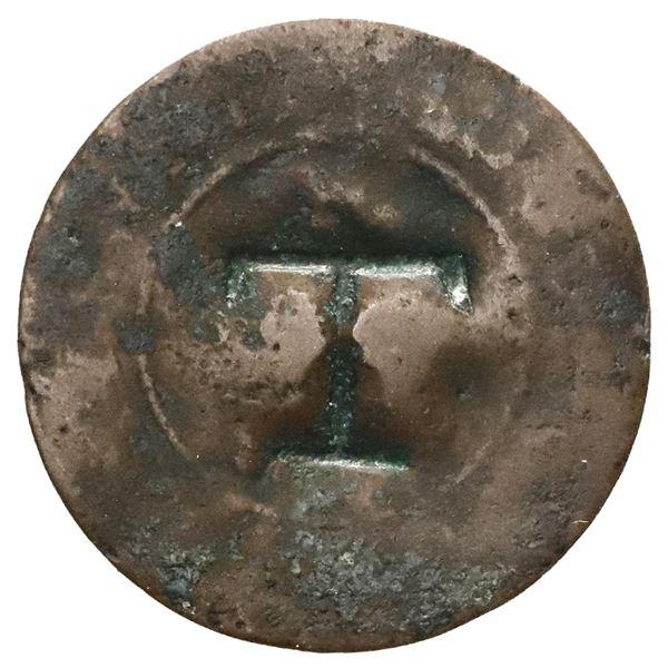 "Tortola (British Virgin Islands), 1-1/2 pence ""black dogg (1801),"" countermark incuse T on a French"