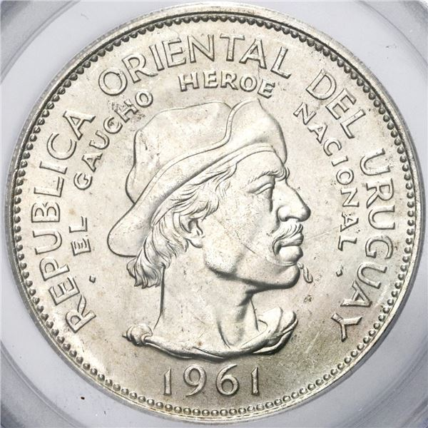 Uruguay, 10 pesos, 1961, Sesquicentennial of Revolution Against Spain, PCGS Gem UNC / 9-11-01 WTC Gr