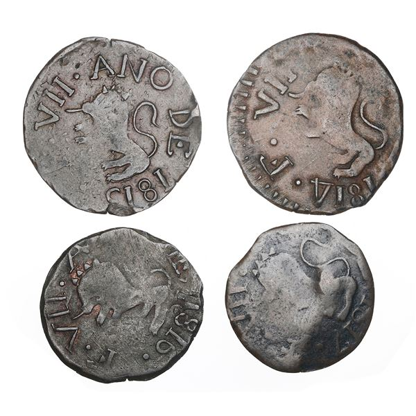 Lot of four Guayana, Venezuela (royalist) copper 1/2R, dates 1814 (facing inward), 1815, 1816 and 18