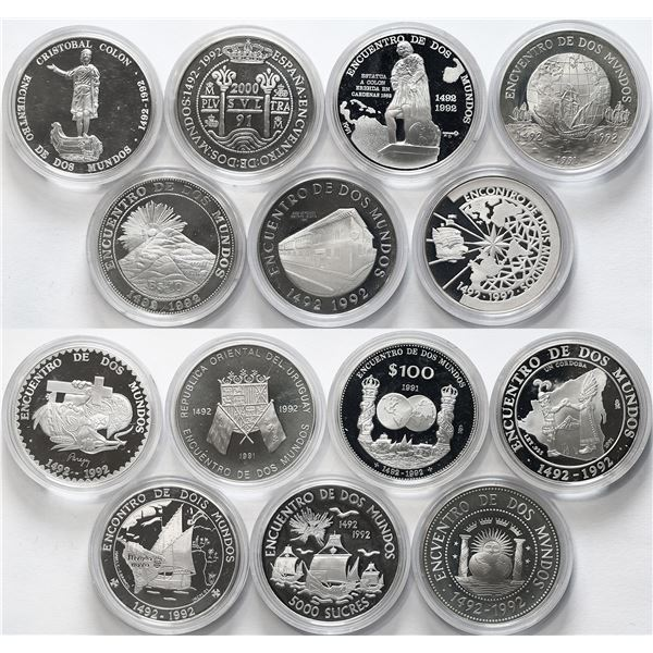 Mint set of 14 Iberoamericana coins, Series I, 1992, 500th Anniversary of the Discovery of America,