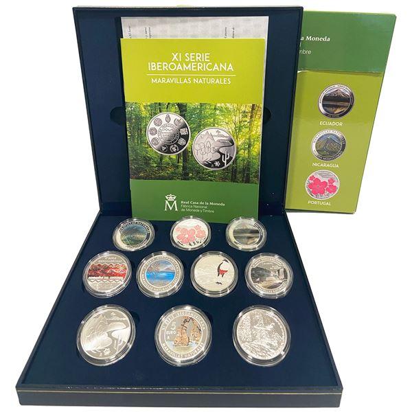 Mint set of 10 Iberoamericana coins, Series XI, 2017, Natural Wonders, in original mint packaging.