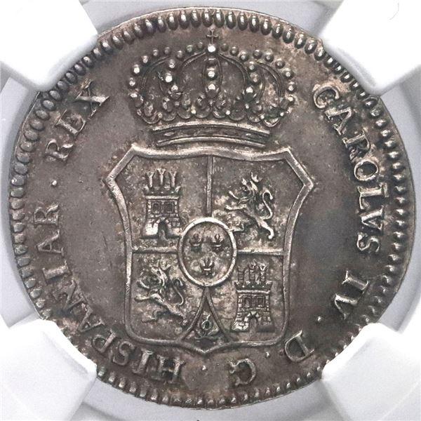 Puerto Real, Spain, 2R-sized proclamation medal, Charles IV, 1789, NGC AU 58, ex-Prieto.
