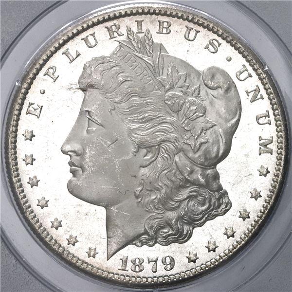 "USA (San Francisco mint), $1 Morgan, 1879-S, PCGS MS64 (first generation ""rattler"" holder)."