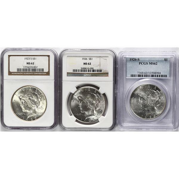 Lot of three USA Peace dollars: 1923-S, NGC MS 62; 1926, NGC MS 62; 1926-S, PCGS MS 62.