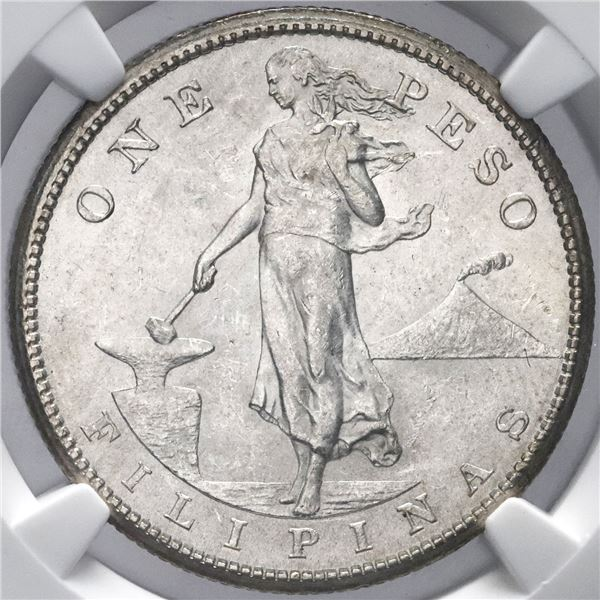 Philippines (struck in San Francisco), 1 peso, 1909-S, NGC MS 62.