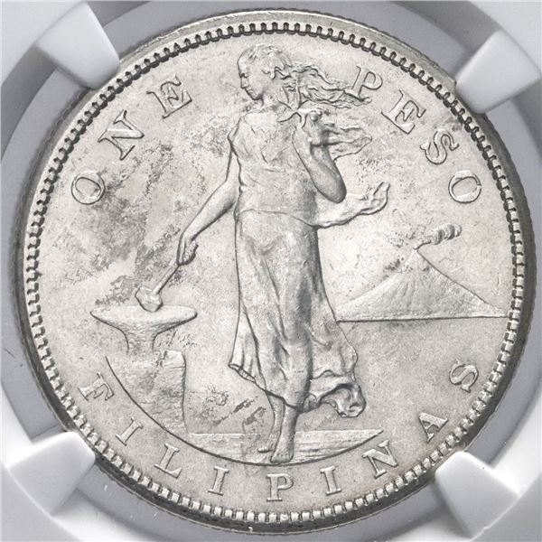 Philippines (struck in San Francisco), 1 peso, 1910-S, NGC MS 61.