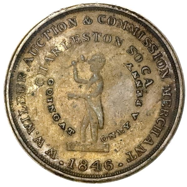 Charleston, South Carolina, brass 1-cent token, 1846, W.W. Wilbur, Auction & Commission Merchant, pe