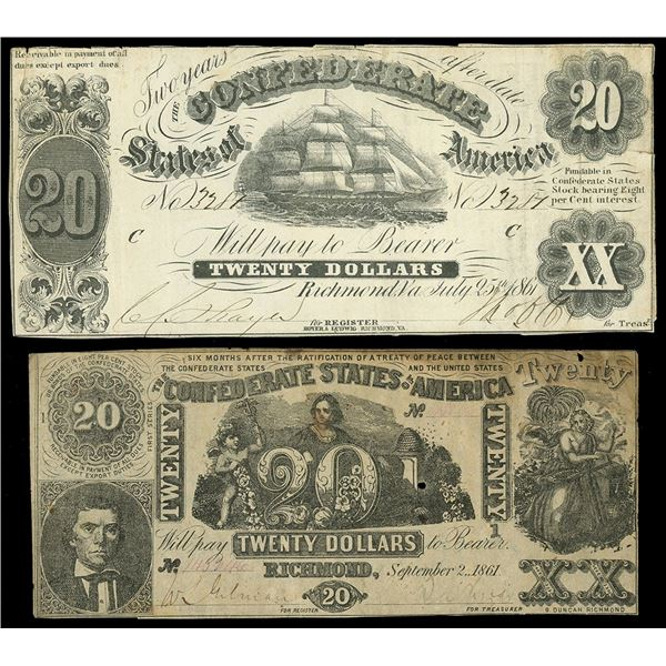 Lot of two CSA $20 notes: July 25, 1861, serial 3287, plate C; Sept. 2, 1861, serial 145246, first s