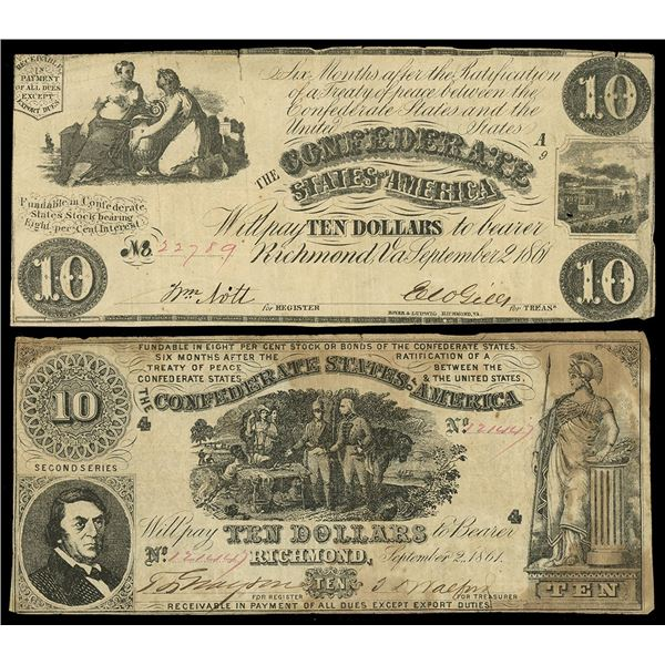 Lot of two CSA $10 notes of Sept. 2, 1861: serial 22789, plate A9; serial 121445, second series.