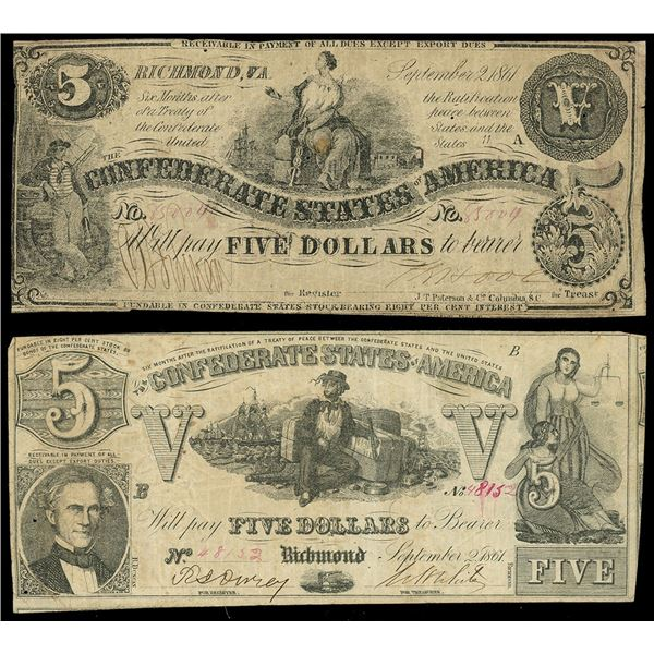 Lot of two CSA $5 notes of Sept. 2, 1861: serial 85004, plate A; serial 48152, plate B.