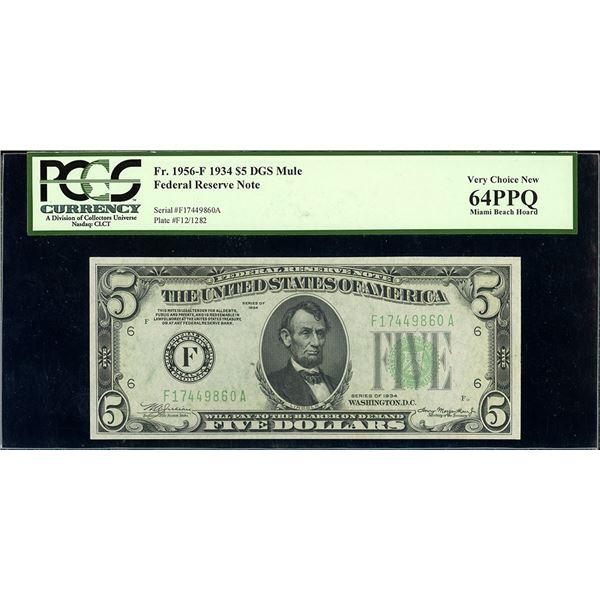 USA, Federal Reserve Bank of Atlanta, $5, series of 1934, serial F17449860A, Julian-Morgenthau, dark