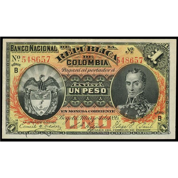 Bogota, Colombia, 1 peso oro, 5-3-1895, series B, serial 548657.