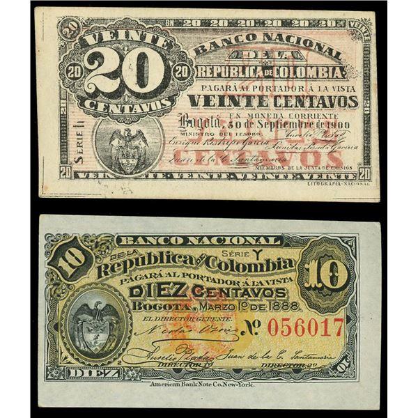 Lot of two Bogota, Colombia, Banco Nacional de la Republica notes: 20 centavos, 30-9-1900, series h,