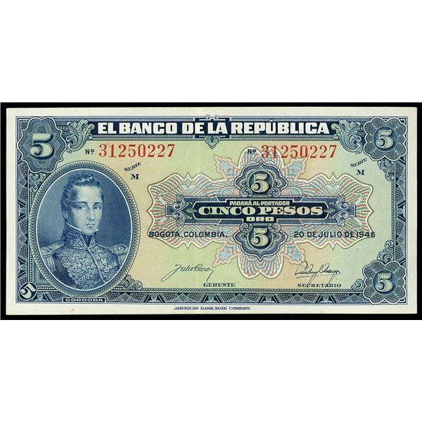 Bogota, Colombia, Republica de Colombia, 5 pesos oro, 20-7-1946, series M, serial 31250227.