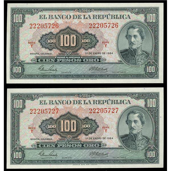 Lot of two Bogota, Colombia, Banco de la Republica, 100 pesos oro, 1-1-1964, series Y: serials 22205