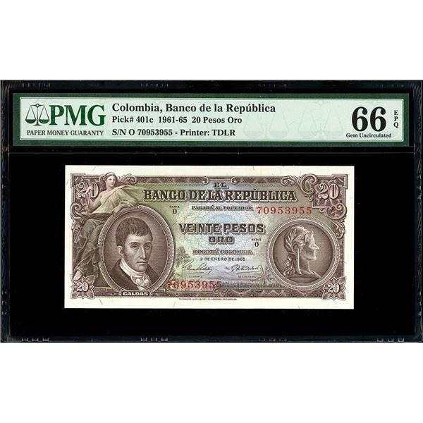 Bogota, Colombia, Banco de la Republica, 20 pesos oro, 2-1-1965, series O, serial 70953955.