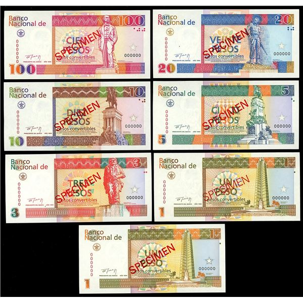 Set of seven Cuba specimen notes, 100 pesos to 1 peso, 1994, along with four exchange certificates.