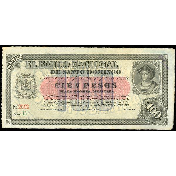 Santo Domingo, Dominican Republic, Banco Nacional de Santo Domingo, 100 pesos remainder, 14-8-1889 (
