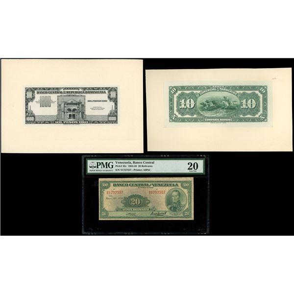 Lot of three notes: Santo Domingo, Dominican Republic, 1000 pesos oro front proof, no date (1947); C