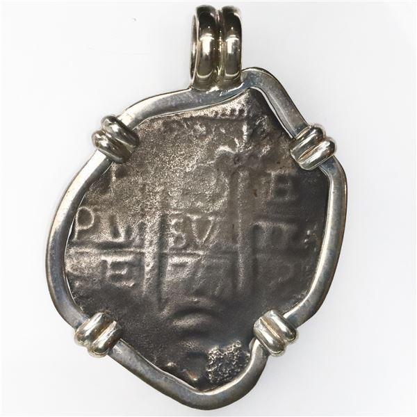 Potosi, Bolivia, cob 4 reales, 1677E, ex-Consolacion (1681), mounted pillars-side out in silver beze