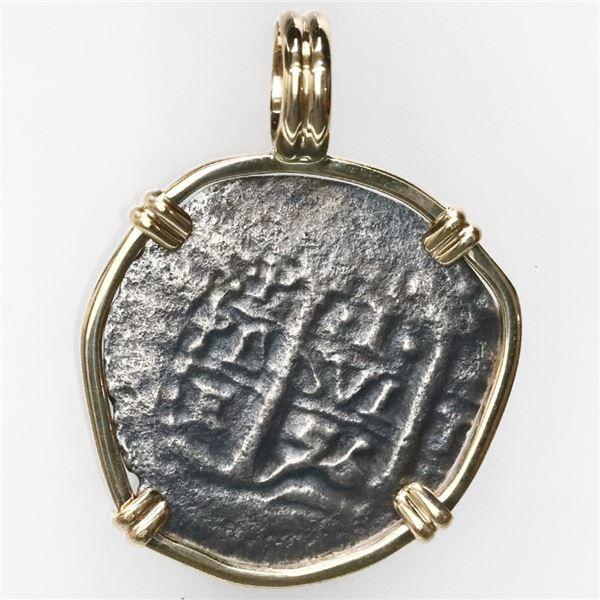 Potosi, Bolivia, cob 1 real, 1656E, ex-Consolacion (1681), mounted cross-side out in 14K gold bezel