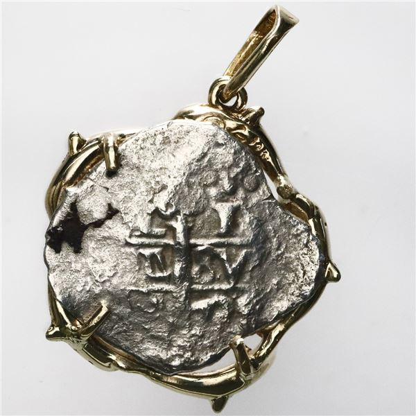 Lima, Peru, cob 1 real, 1731(?)(M), ex-Princess Louisa (1743), mounted cross-side out in 14K gold be