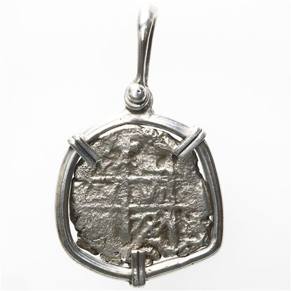 Potosi, Bolivia, cob 1 real, 1729M, ex-Princess Louisa (1743), mounted pillars-side out in silver be