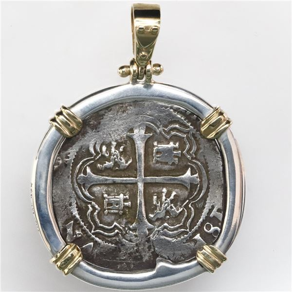 Mexico City, Mexico, cob 2 reales, Philip III, assayer F, mounted cross-side out in thick silver bez