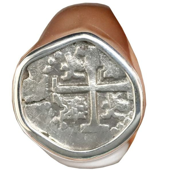 Lima, Peru, cob 1/2 real, Philip V (ca. 1702), mounted cross-side out in men's silver ring (size 11)
