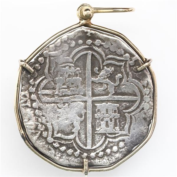 Potosi, Bolivia, cob 8 reales, Philip III, assayer R (curved leg), mounted cross-side out in 14K gol
