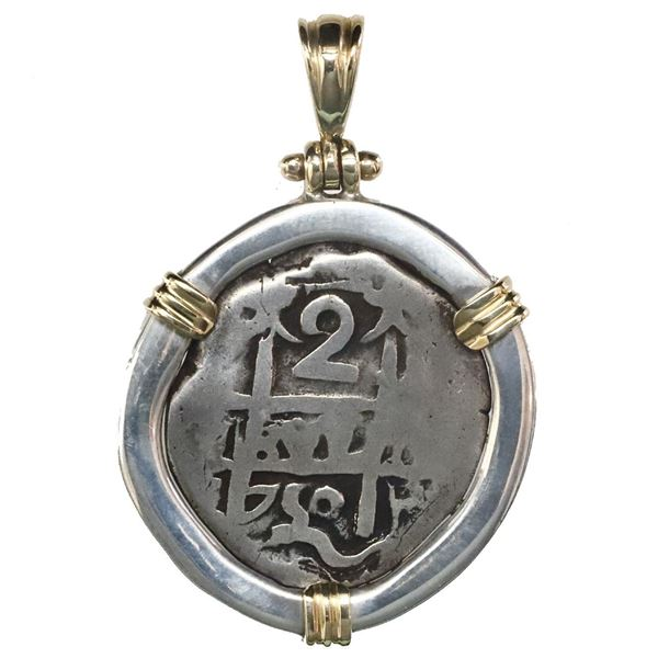Potosi, Bolivia, cob 2 reales, 1750q, mounted pillars-side out in thick silver bezel with 14K gold p