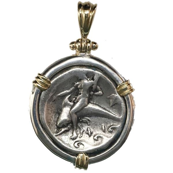 """Calabria, Tarentum, AR didrachm or nomos, ca. 334-330 BC, """"boy on dolphin,"""" aligned axis, mounted in"""