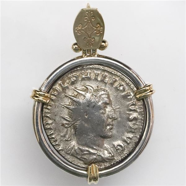 Roman Empire, AR antoninianus, Gordian III (238-244 AD), mounted bust-side out in silver bezel with