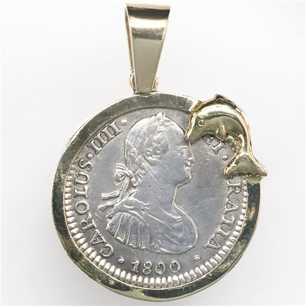 Mexico City, Mexico, bust 1 real, Charles IV, 1800FM, mounted bust-side out in 14K gold bezel with d