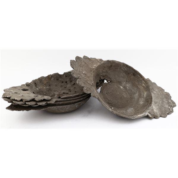 "Lot of six pewter porringer bowls, ex-""Pewter Wreck"" (mid-1500s)."