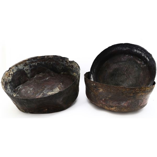 """Lot of three large copper bowls (nesting), ex-""""Pewter Wreck"""" (mid-1500s)."""