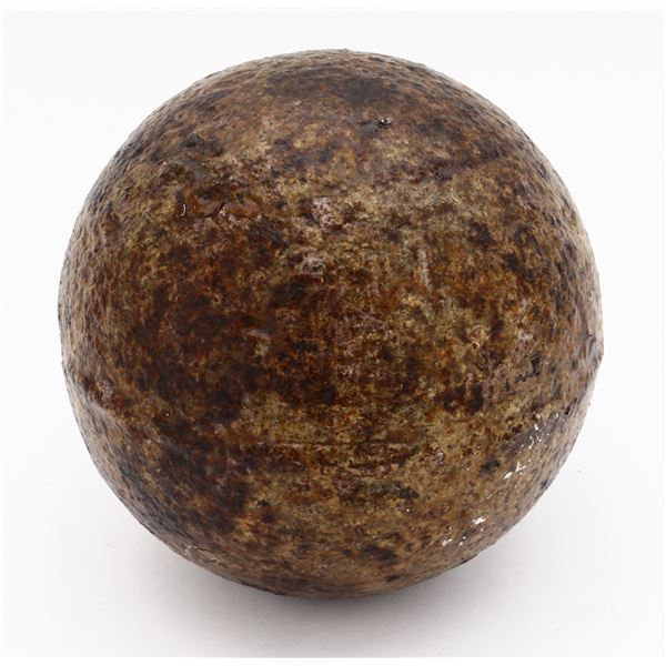 Iron cannonball (four-pounder), conserved and intact, ex-Florida Keys wreck (early 1700s).