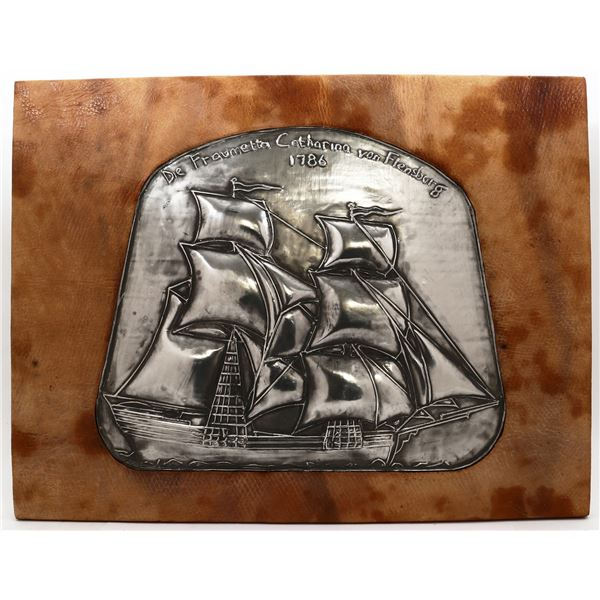 Picture made from reindeer rawhide, ex-Catharina von Flensburg (1786), and repousse pewter image of