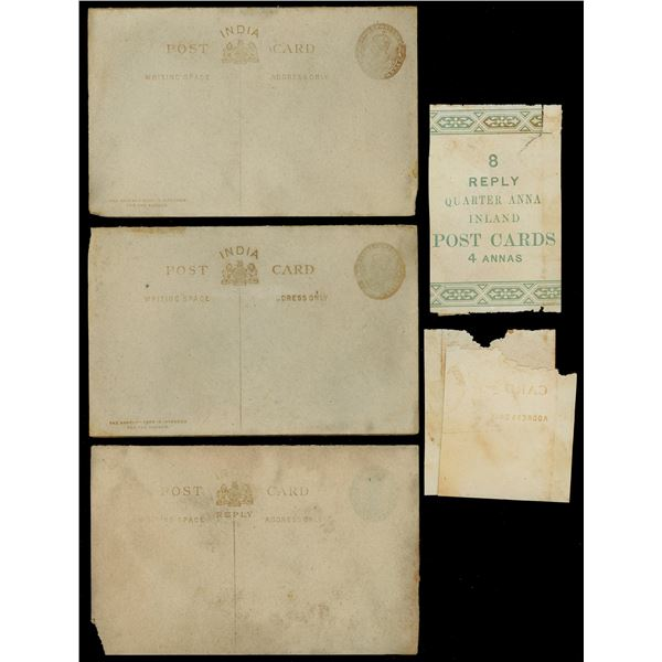 Lot of three British Indian 1/4 anna postcards with reply cards and original wrapper, ex-Camberwell