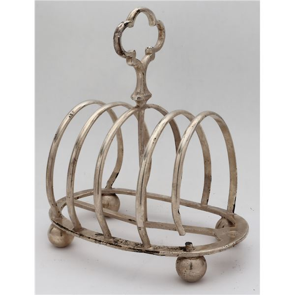 Silver-plated handled toast rack, marked with Cunard Steamship logo and Elkington Plate stamps, ex-A