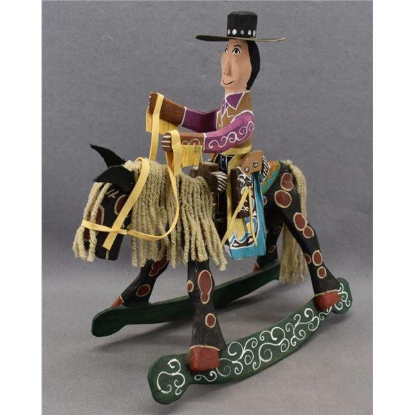 NAVAJO INDIAN FOLK-ART ROCKING HORSE. ( DELBERT BUCK)