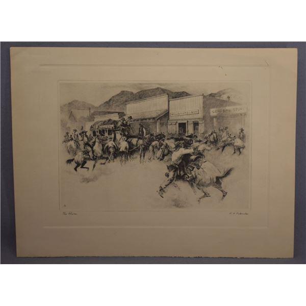 "VINTAGE R.H. PALENSKE WESTERN PRINT ""THE ALARM"""