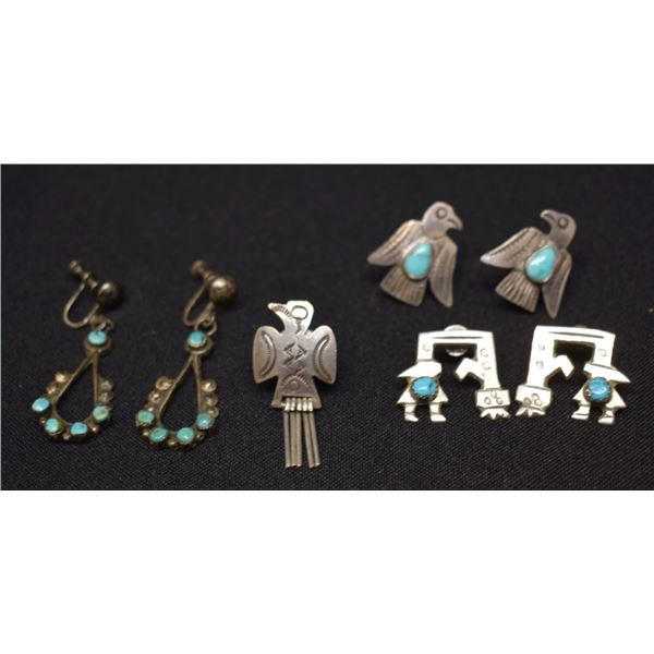 NAVAJO INDIAN EARRINGS AND PIN