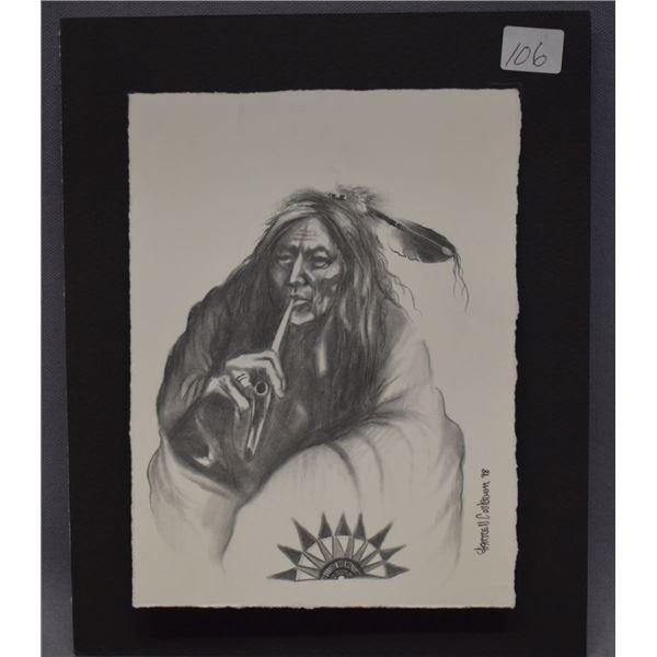 BLACKFOOT INDIAN PENCIL SKETCH (FARRELL COCKRUM)