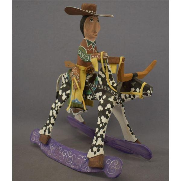 NAVAJO INDIAN FOLK ART ROCKING STEER (DELBERT BUCK)