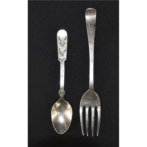 NAVAJO INDIAN SILVER SPOON AND FORK